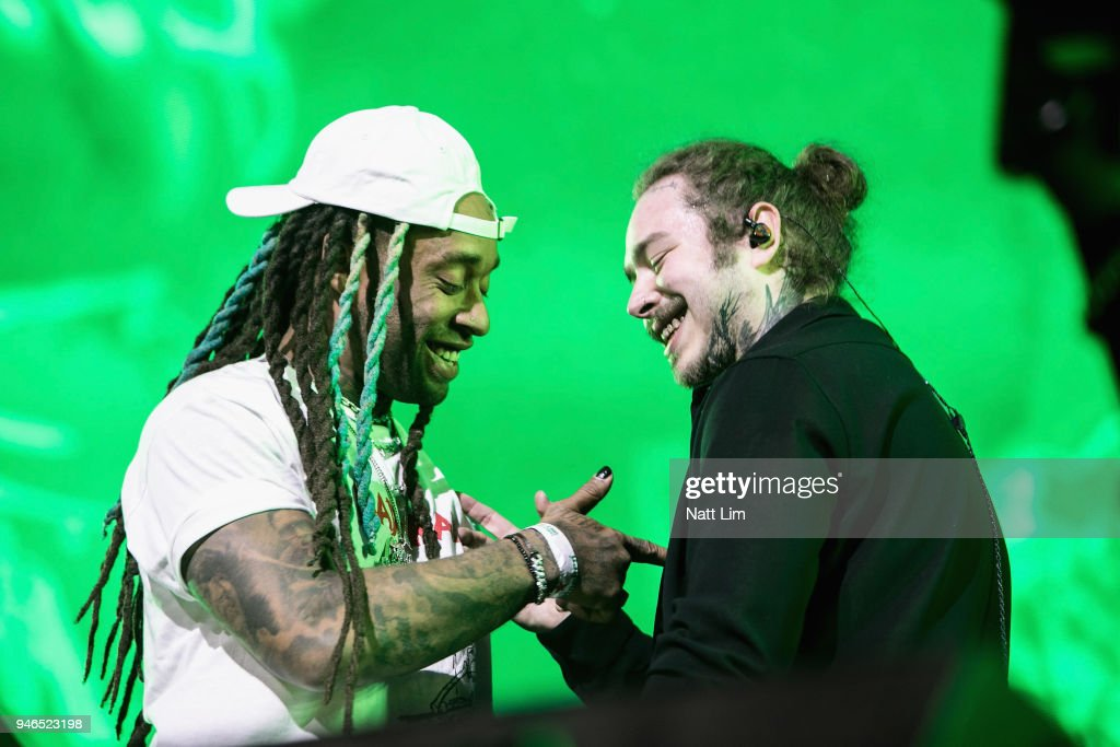 Ty Dolla Sign (L) and Post Malone perform onstage during 2018 Coachella Valley Music And Arts Festival Weekend 1 at the Empire Polo Field on April 14, 2018 in Indio, California.