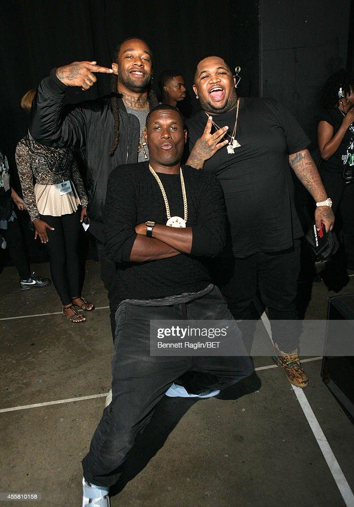 Ty Dolla Sign, Jay Electronica, and DJ Mustard pose backstage at the BET Hip Hop Awards 2014 at Boisfeuillet Jones Atlanta Civic Center on September 20, 2014 in Atlanta, Georgia.