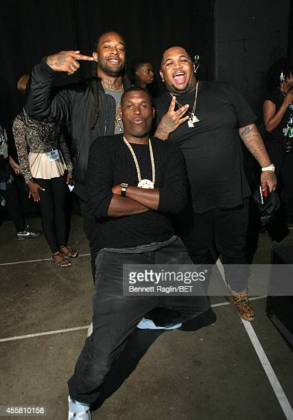 Ty Dolla Sign Jay Electronica and DJ Mustard pose backstage at the BET Hip Hop Awards 2014 at Boisfeuillet Jones Atlanta Civic Center on September 20...