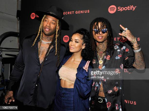 Ty Dolla Sign Jhene Aiko and Swae Lee attend Spotify's Secret Genius Awards Hosted By NEYO at The Theatre at Ace Hotel on November 16 2018 in Los...