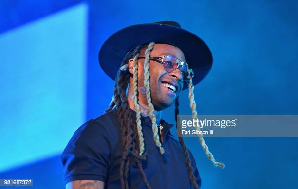 Ty Dolla Sign performs with Ella Mai at 2018 BET Experience Staples Center Concert sponsored by COCACOLA at LA Live on June 22 2018 in Los Angeles...