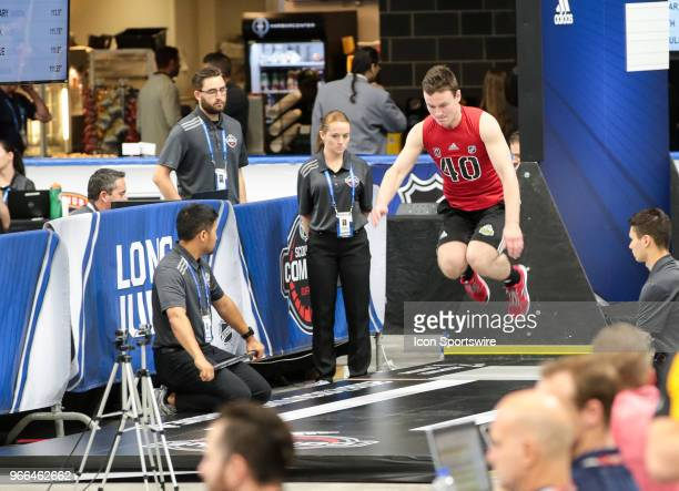 Ty Emberson completes the long jump test during the NHL Scouting Combine on June 2 2018 at HarborCenter in Buffalo New York