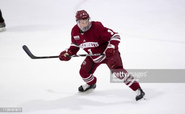 Ty Farmer of the Massachusetts Minutemen skates against the Merrimack College Warriors during NCAA men's hockey at Lawler Rink on February 28 2019 in...