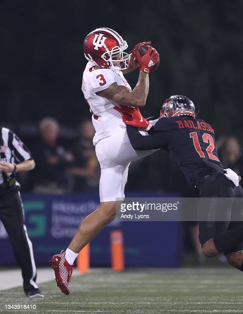 Ty Fryfogle of the Indiana Hoosiers catches a pass against the Western Kentucky Hilltoppers at Houchens Industries-L.T. Smith Stadium on September...