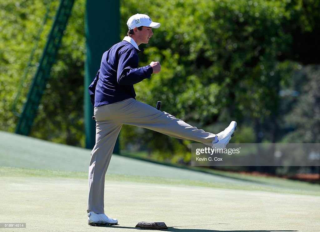 Ty Griggs reacts after sinking a putt on the way to winning the 12-13 Boys Drive, Chip and Putt Championship at Augusta National Golf Club on April 3, 2016 in Augusta, Georgia.