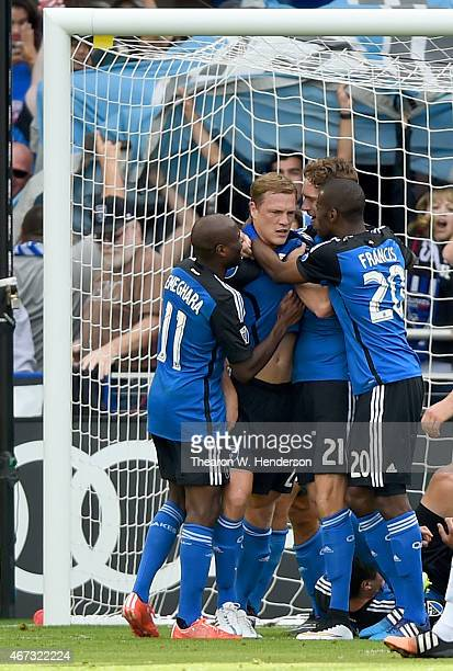 Ty Harden of San Jose Earthquakes is congratulated by teamates after he scored a goal against the Chicago Fire in the first half at Avaya Stadium on...