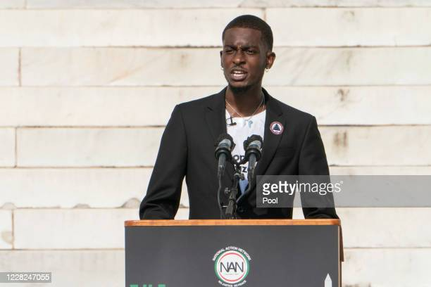 Ty Hobson-Powell, co-founder of Concerned Citizens DC, speaks during the March on Washington at the Lincoln Memorial on August 28, 2020 in...