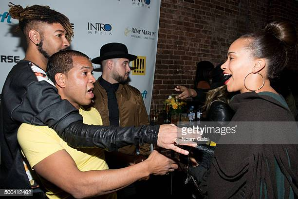 Ty Hunter Johnny Nunez and Amber Sabathia attend the Ty Hunter Emoji app launch on December 7 2015 in New York City