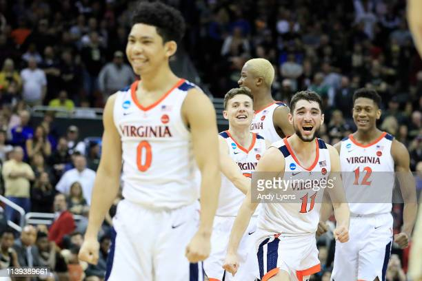 Ty Jerome of the Virginia Cavaliers reacts after they defeated the Purdue Boilermakers 8075 to advance to the Final Four in overtime of the 2019 NCAA...