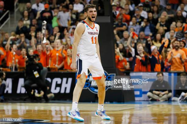 Ty Jerome of the Virginia Cavaliers reacts against the Purdue Boilermakers during the first half of the 2019 NCAA Men's Basketball Tournament South...