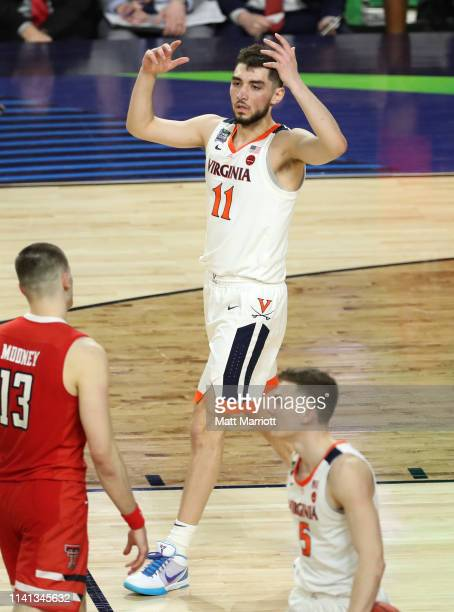 Ty Jerome of the Virginia Cavaliers reacts to a play against the Texas Tech Red Raiders during the second half of the 2019 NCAA men's Final Four...