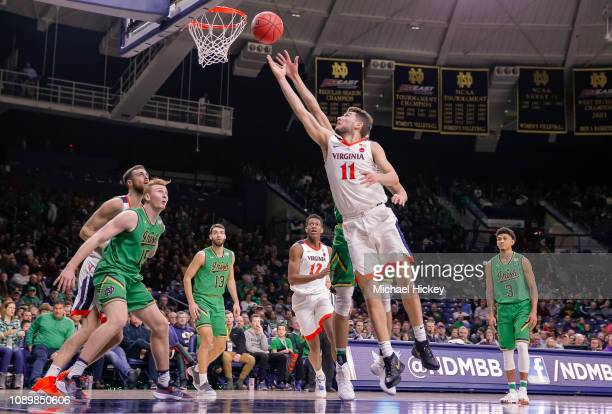 Ty Jerome of the Virginia Cavaliers shoots the ball against the Notre Dame Fighting Irish at Purcell Pavilion on January 26 2019 in South Bend Indiana