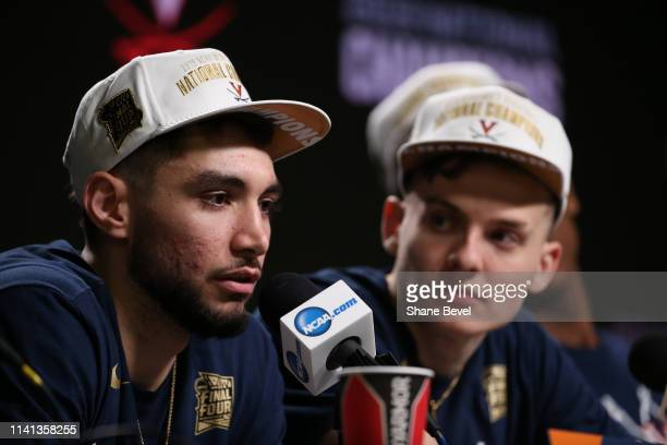 Ty Jerome of the Virginia Cavaliers takes questions during a press conference following the game against the Texas Tech Red Raiders in the 2019 NCAA...