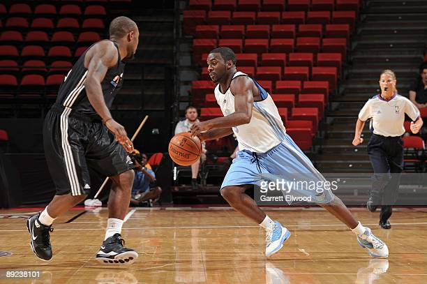 Ty Lawson of the Denver Nuggets drives against the Washington Wizards during NBA Summer League presented by EA Sports on July 15 2009 at Cox Pavilion...