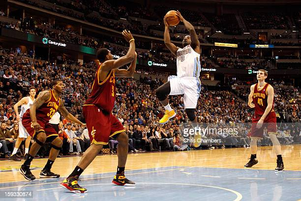 Ty Lawson of the Denver Nuggets drives for a shot attempt in the second half against Tristan Thompson of the Cleveland Cavaliers at Pepsi Center on...