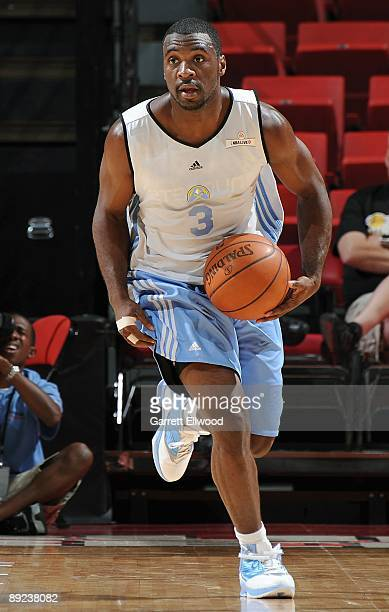 Ty Lawson of the Denver Nuggets drives the ball upcourt against the Washington Wizards during NBA Summer League presented by EA Sports on July 15...