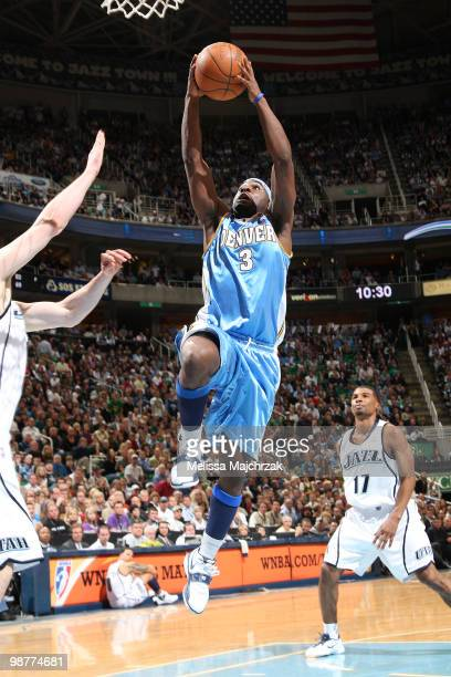 Ty Lawson of the Denver Nuggets goes up for the shot against the Utah Jazz in Game Six of the Western Conference Quarterfinals during the 2010 NBA...