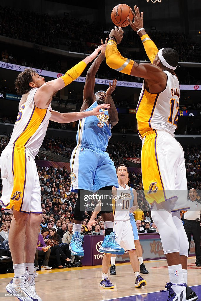 Ty Lawson #3 of the Denver Nuggets puts up a shot against the Los Angeles Lakers at Staples Center on January 6, 2013 in Los Angeles, California.