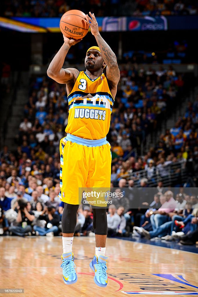 Ty Lawson #3 of the Denver Nuggets shoots against the Golden State Warriors in Game Two of the Western Conference Quarterfinals during the 2013 NBA Playoffs on April 23, 2013 at the Pepsi Center in Denver, Colorado.