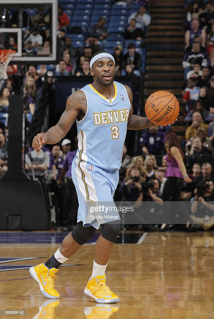 Ty Lawson #3 of the Denver Nuggets surveys the floor against the Sacramento Kings on March 5, 2013 at Sleep Train Arena in Sacramento, California.