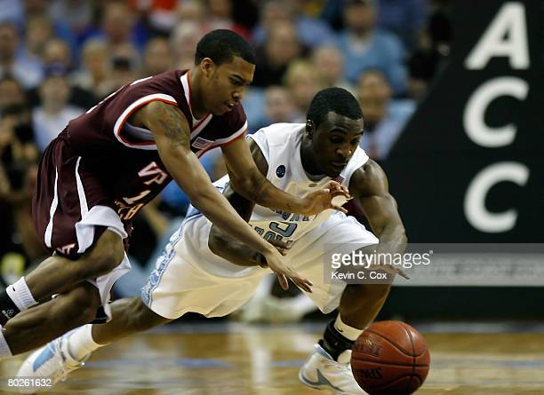 Ty Lawson of the North Carolina Tar Heels and Hank Thorns of the Virginia Tech Hokies go after a loose ball during the semifinals of the 2008 Men's...