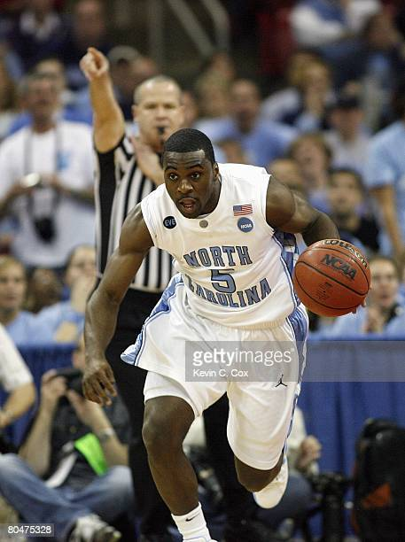 Ty Lawson of the North Carolina Tar Heels drives downcourt against the Mount St. Mary's Mountaineers during the 1st round of the 2008 NCAA Men's...