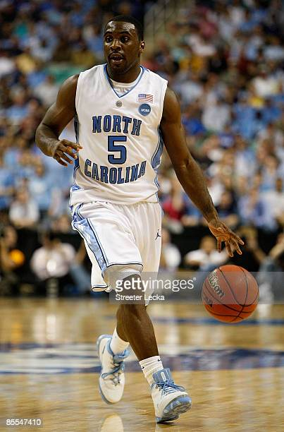 Ty Lawson of the North Carolina Tar Heels run the point against the Louisiana State University Tigers during the second round of the NCAA Division I...