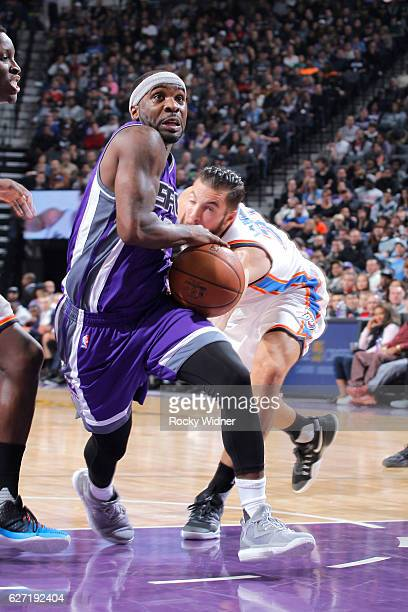 Ty Lawson of the Sacramento Kings drives against the Oklahoma City Thunder on November 23 2016 at Golden 1 Center in Sacramento California NOTE TO...