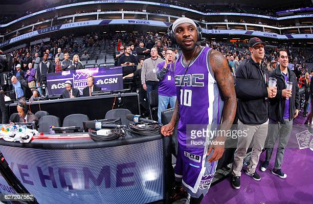 Ty Lawson of the Sacramento Kings speaks with media after defeating the Oklahoma City Thunder on November 23 2016 at Golden 1 Center in Sacramento...