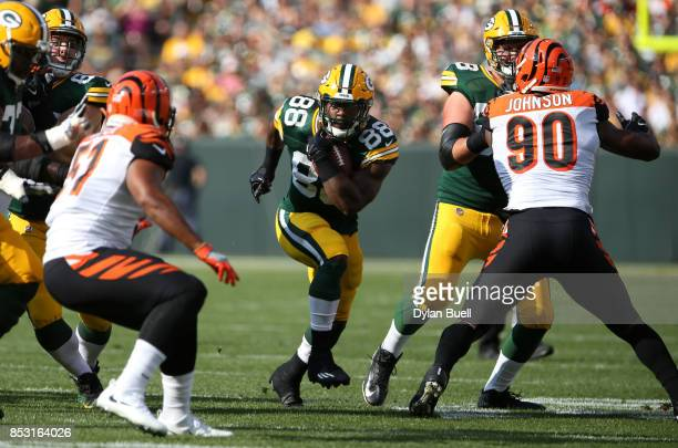 Ty Montgomery of the Green Bay Packers carries the ball during the first quarter against the Cincinnati Bengals at Lambeau Field on September 24 2017...