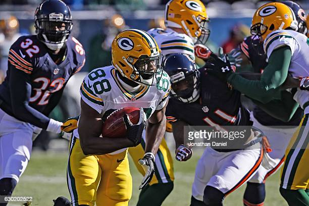 Ty Montgomery of the Green Bay Packers carries the football in the first quarter against the Chicago Bears at Soldier Field on December 18 2016 in...