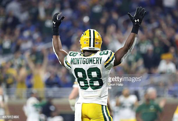 Ty Montgomery of the Green Bay Packers celebrates a fourth quarter touchdown during the game against the Detroit Lions at Ford Field on January 1...