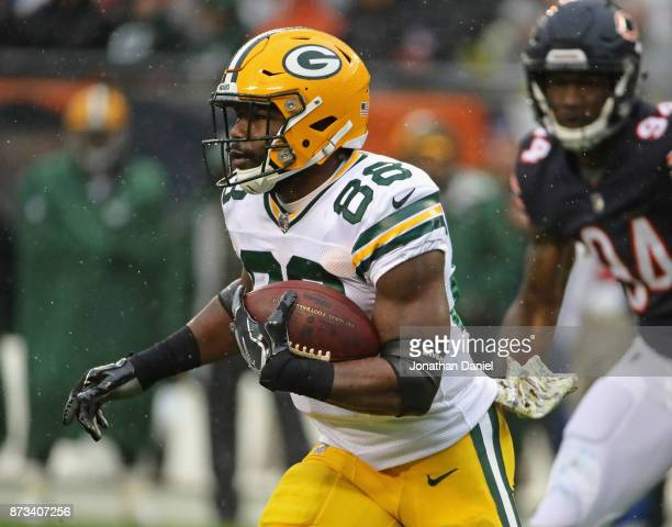 Ty Montgomery of the Green Bay Packers runs against the Chicago Bears at Soldier Field on November 12 2017 in Chicago Illinois The Packers defeated...