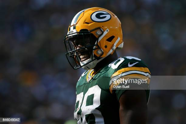 Ty Montgomery of the Green Bay Packers stands on the field during a timeout in the first quarter against the Seattle Seahawks at Lambeau Field on...