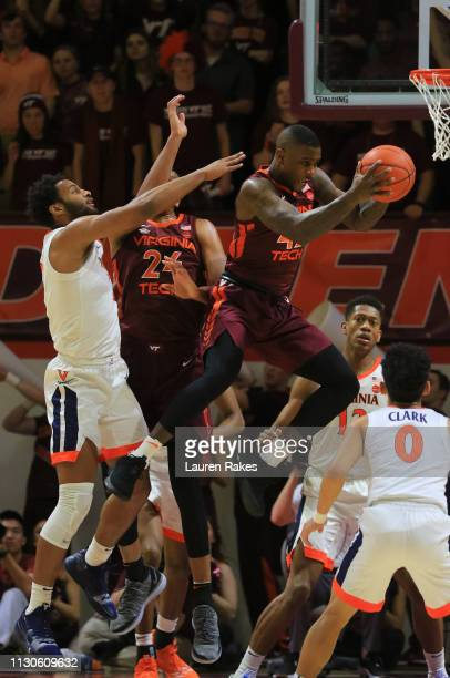 Ty Outlaw of the Virginia Tech Hokies gets the rebound during the game against the University of Virginia Cavaliers at Cassell Coliseum on February...