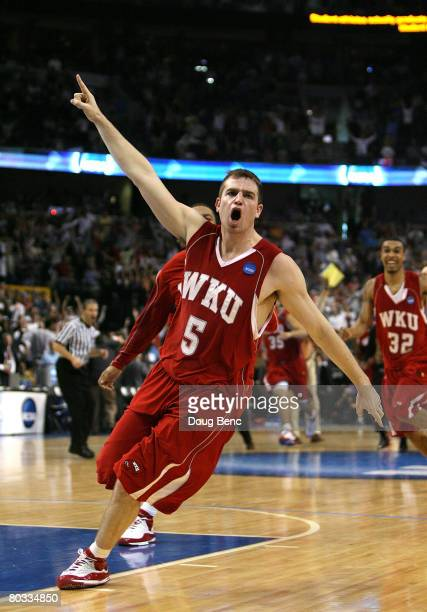 Ty Rogers of the Western Kentucky Hilltoppers celebrates his gamewinning basket against the Drake Bulldogs during the first round of the 2008 NCAA...
