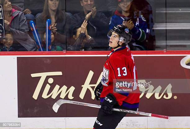 Ty Ronning of Team Cherry celebrates his goal against Team Orr during their CHL/NHL Top Prospects game at the Pacific Coliseum on January 28 2016 in...