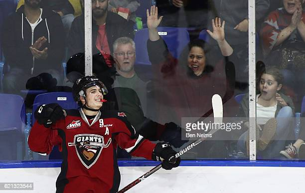 Ty Ronning of the Vancouver Giants celebrates his goal against the Lethbridge Hurricanes during the second period of their WHL game at the Langley...