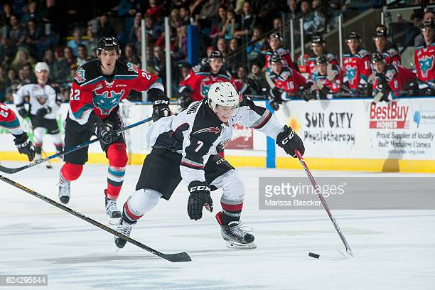 Ty Ronning of the Vancouver Giants skates with the puck during a second period break away against the Kelowna Rockets on November 18 2016 at Prospera...