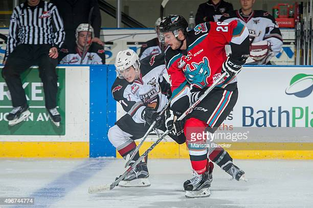 Ty Ronning of Vancouver Giants stick checks Cole Linaker of Kelowna Rockets during third period on November 11 2015 at Prospera Place in Kelowna...