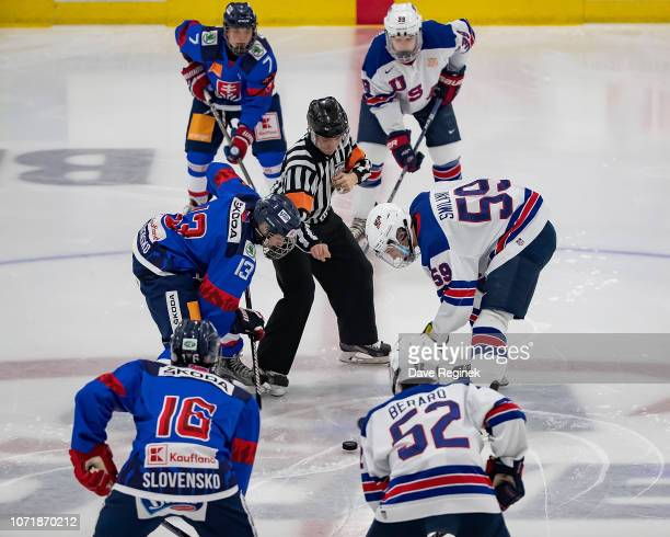 Ty Smilanic of the US Nationals faces off to start the game against Oleksiy Myklukha of the U17 Slovakia Nationals during game two of the 2018...