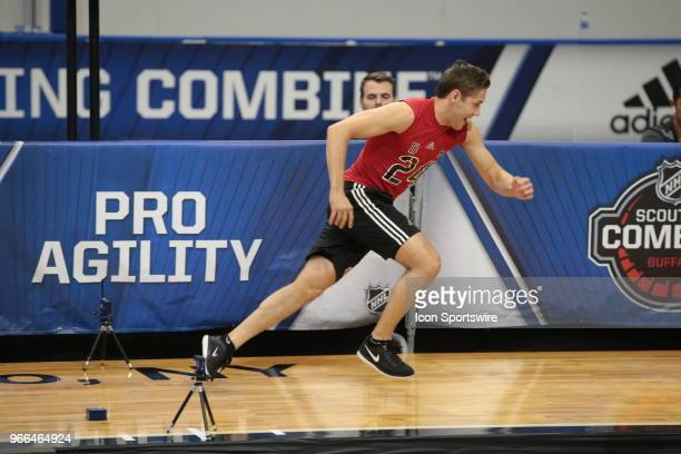 Ty Smith completes the pro agility test during the NHL Scouting Combine on June 2 2018 at HarborCenter in Buffalo New York