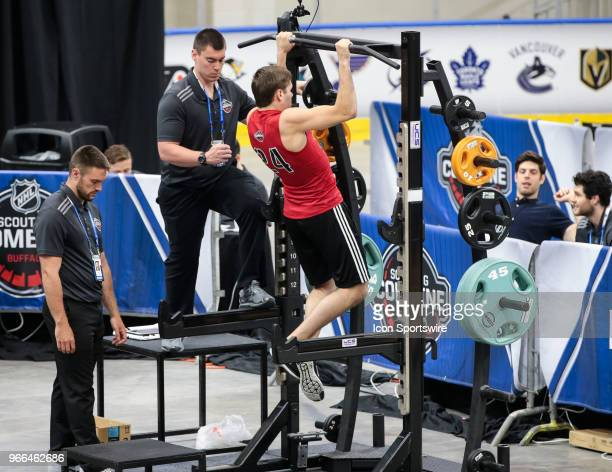 Ty Smith completes the pull ups test during the NHL Scouting Combine on June 2 2018 at HarborCenter in Buffalo New York