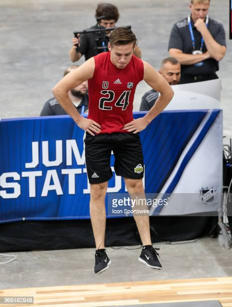 Ty Smith completes the standing jump test during the NHL Scouting Combine on June 2 2018 at HarborCenter in Buffalo New York