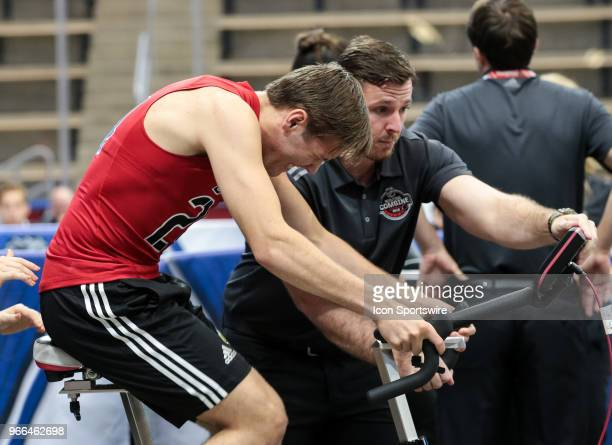 Ty Smith completes the Wingate cycle test during the NHL Scouting Combine on June 2 2018 at HarborCenter in Buffalo New York