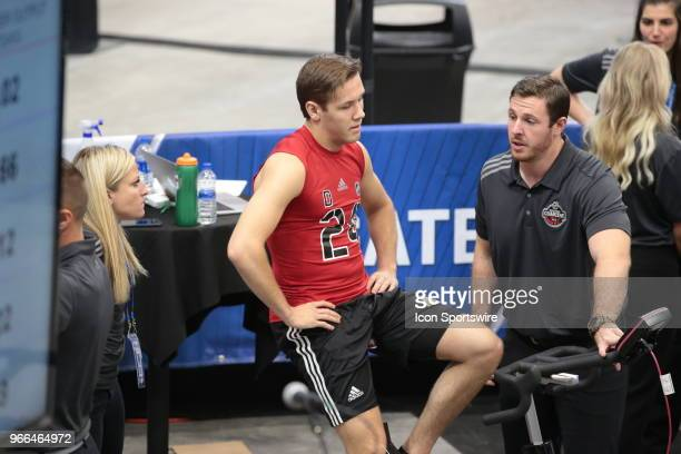 Ty Smith of completes the#2 completes the Wingate cycle test during the NHL Scouting Combine on June 2 2018 at HarborCenter in Buffalo New York