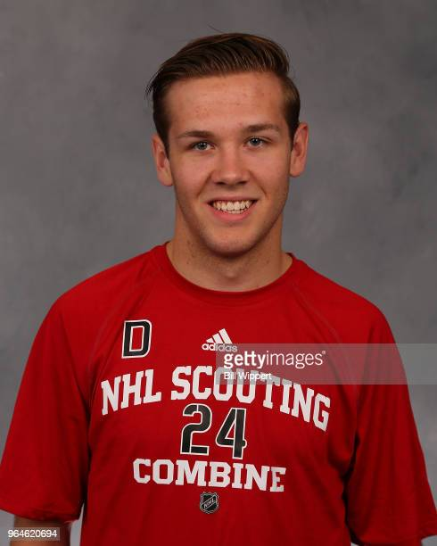 Ty Smith poses for a headshot at the NHL Scouting Combine on May 31 2018 at HarborCenter in Buffalo New York