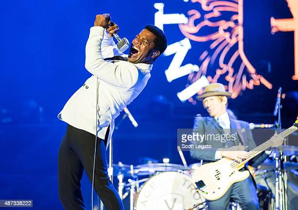 Ty Taylor and Rick Barrio Dill of Vintage Trouble perform on stage during the 'Rock or Bust' World Tour at Ford Field on September 8, 2015 in...