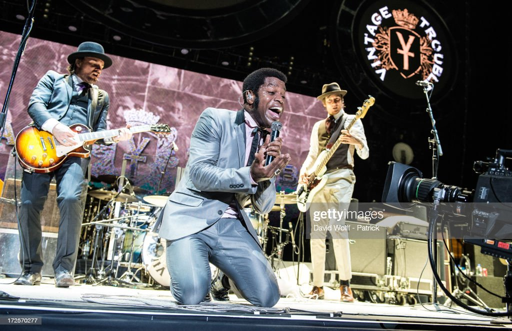 Ty Taylor (C) from Vintage Trouble opens for The Who at Palais Omnisports de Bercy on July 3, 2013 in Paris, France.