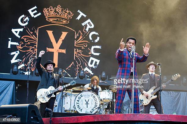 Ty Taylor from Vintage Trouble performs at Stade de France on May 23 2015 in Paris France